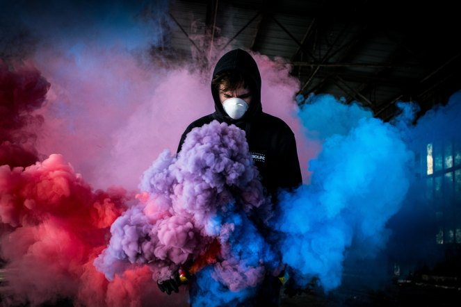 Bisexual pride smoke bomb pink purple blue